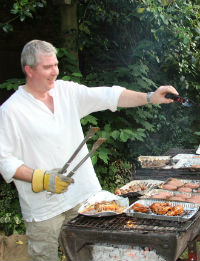 Stephen fighting off the hungry hoards... or reliving Pentecost (tongs of fire...)